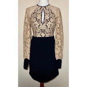 Alexis Ivory Lace Black Mini Keyhole Midi Dress M